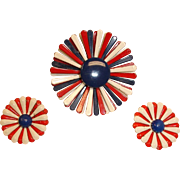 Vintage Red White and Blue Flower Brooch and Earrings – Patriot Red White and Blue Demi Parure
