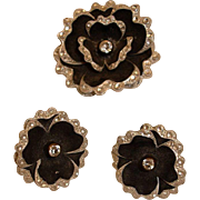 Black and Silver Tone Rhinestone Flower Brooch and Earrings Set - Vintage Black Daisy Demi Parure  - Made in Germany