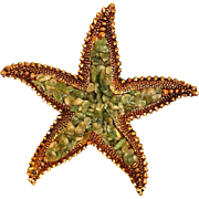 Vintage Aventurine Mosaic and Copper Starfish Brooch