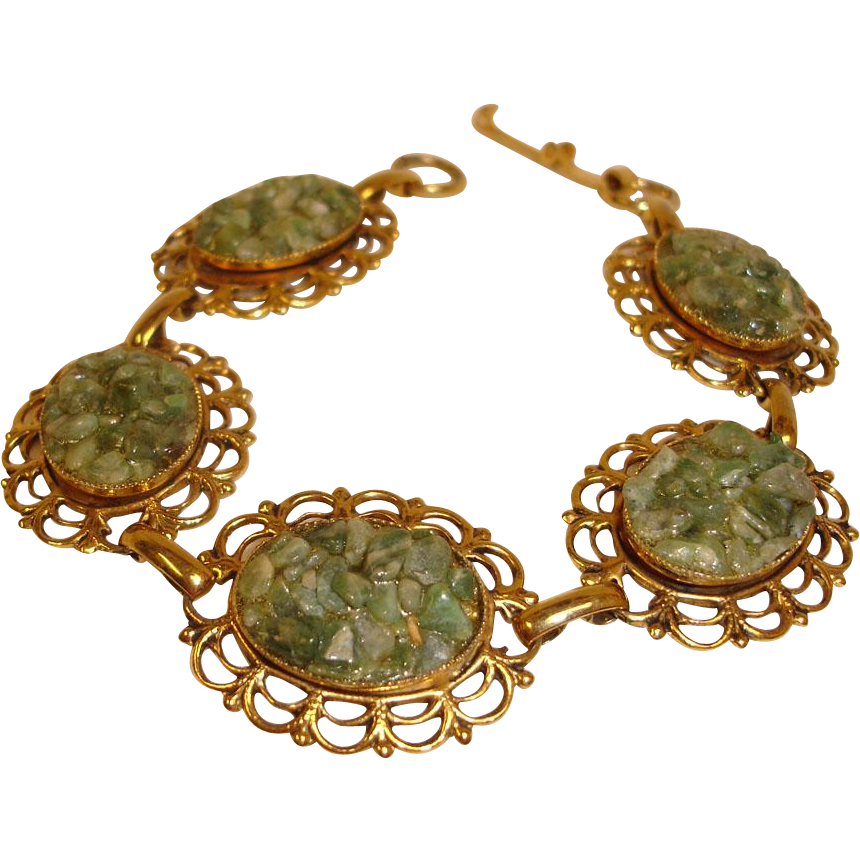 Vintage  1970's Adventurine Bracelet - Solid Copper