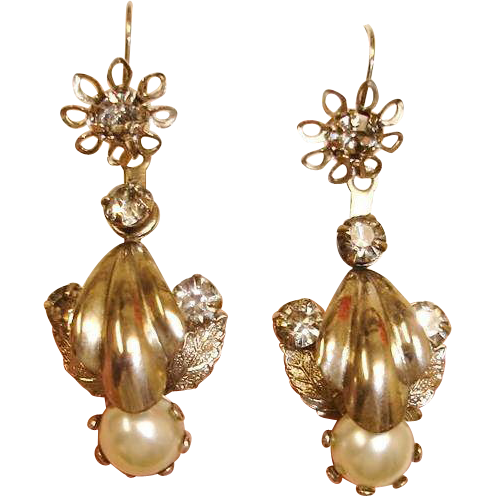 Vintage  Day Night  Drop Earrings -  Pierced Earrings