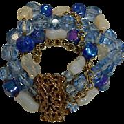 Vintage 5 Strand Fancy Clasp Bracelet - Blue Faceted Crystal and Art Glass Beads Bracelet