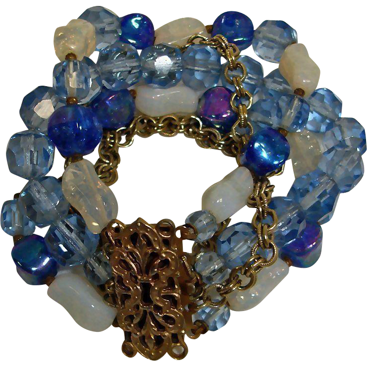 Vintage 5 Strand Fancy Clasp Bracelet - Blue Faceted Crystal and Art Glass Beads Bracelet