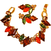 Juliana Delizza & Elster Demi Parure - Vintage D&E Bracelet and Earrings Set