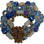 Vintage Blue Faceted Crystal and Art Glass Beads Bracelet  - 5 Strand Fancy Clasp Bracelet