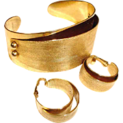 Designer Signed EMMONS Cuff Bracelet and Earrings Set – Vintage Emmons Demi Parure Jewelry
