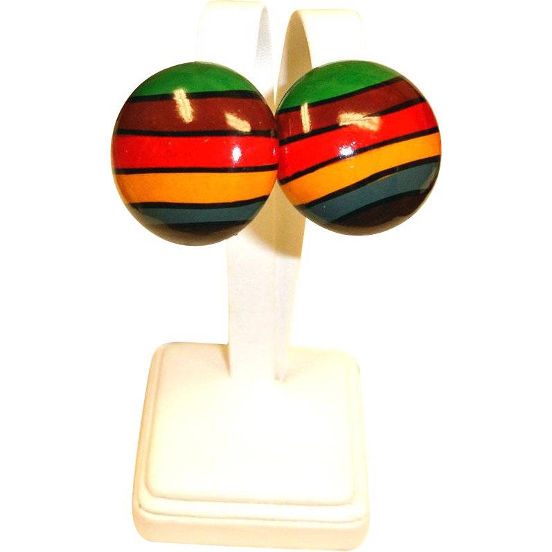 MOD Hand Painted Wood Domed Pierced Earrings - Vintage Pierced Post Stud Earrings