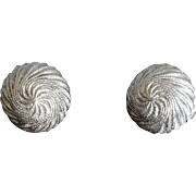 Crown TRIFARI Textured Domed Silver Tone Earrings - Vintage Trifari  Earrings