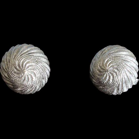 Crown TRIFARI Textured Domed Silver Tone Earrings - Vintage Trifari  Earrings