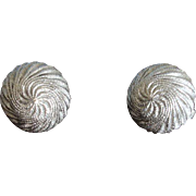 Crown TRIFARI Textured Domed Silver Tone Earrings - Vintage Trifari Jewelry