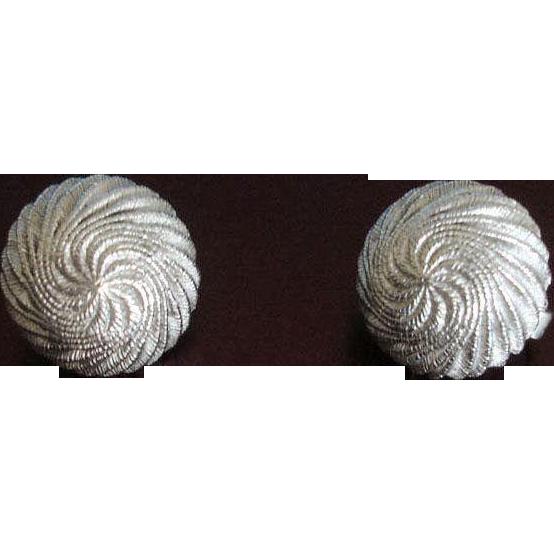 TRIFARI Textured Domed Silver Tone Earrings - Vintage Trifari Jewelry