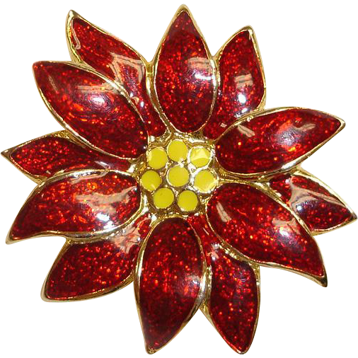 Estate Christmas Pin -  Signed SFJ  -  Red and Gold Color Poinsettia Brooch - Flower Holiday Brooch  or Pin