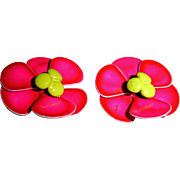 Hot Pink Flower Earrings  - Vintage Enamel Clip On Earrings