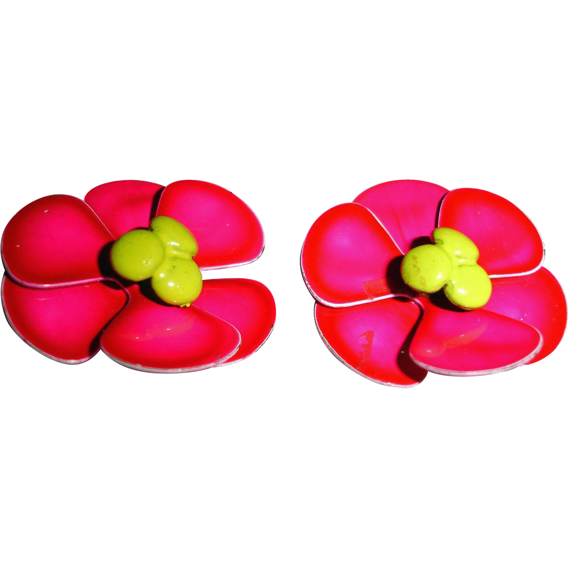 Hot Pink  Flower Earrings Vintage Enamel Clip On Earrings