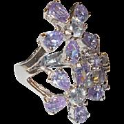 Estate Nolan Miller Lavender Rhinestone Ring – Size 7-1/2 USA