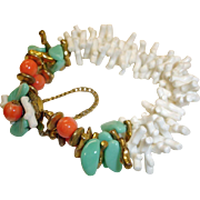 Miriam Haskell Faux Coral and Turquoise Bracelet - Vintage Miriam Haskell Jewelry