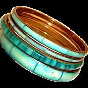 Vintage Bangle Bracelets - 4 Turquoise Color Bracelets