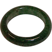 Vintage Carved Natural Jade Band Ring- Dark Green