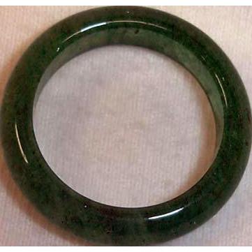 Vintage Carved Natural Jade Band Ring- Dark Green