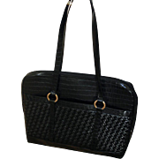 Retired Coldwater Creek Black Large Bag - Briefcase - Laptop Bag - Faux Croc Leather