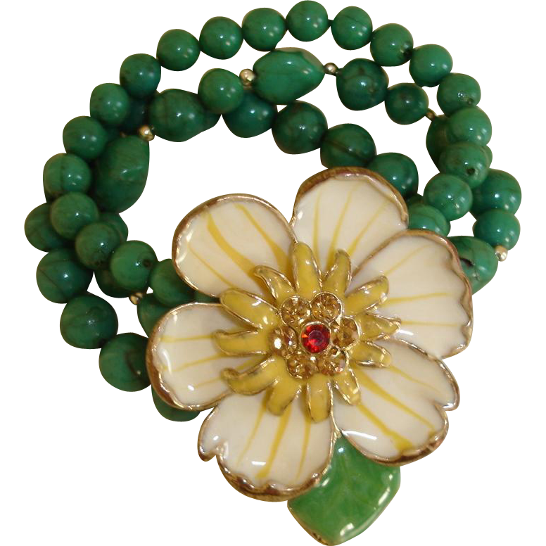 Vintage Green Glass Bracelet with HUGE Flower