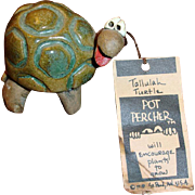 Vintage POTTERY  Tallulah Turtle Pot Percher