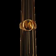 Vintage 18K HGP Yellow Gold Cat Eye / Chrysoberyl Ring – 8.72 Carats  - Size 12-3/4 US