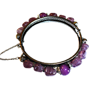 Miriam Haskell Purple Art Glass Hinged Bracelet - Vintage Haskell Designer Jewelry
