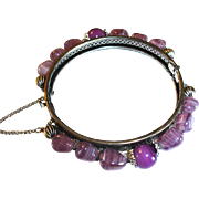 Miriam Haskell Purple Art Glass Hinged Bracelet - Vintage Haskell Designer Jewelry