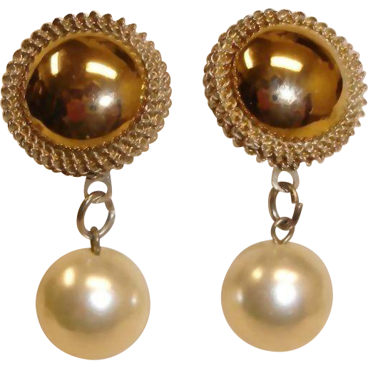 Vintage Gold Plated Button and Faux Drop Pearl  Earrings - Pierced Earrings