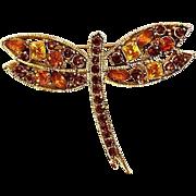 Rhinestone Dragonfly Pin / Brooch - Vintage Dragonfly Brooch