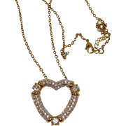 Estate NOLAN MILLER Necklace - Clear Austrian Crystal HEART Pendant - Estate Jewelry