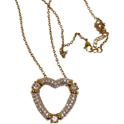 NOLAN MILLER Necklace - Clear Austrian Crystal HEART Pendant - Estate Jewelry