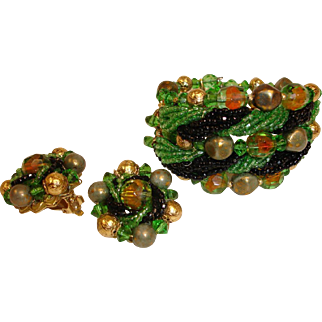 REDUCED -  Beaded Art Glass Bracelet and Earrings Set - Vintage Haskell Style Demi Parure Jewelry