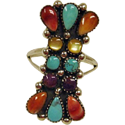Southwest Turquoise Spiny Oyster and Mother of Pearl RING – Size 9 - Estate Southwest Ring