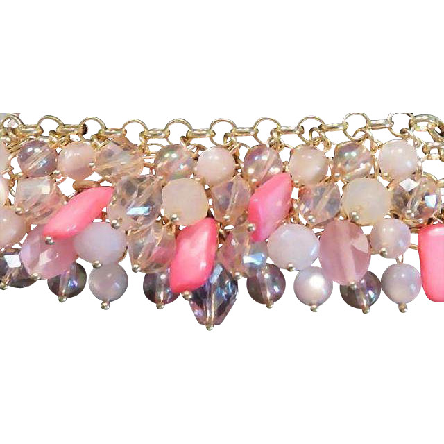 Haskell Pink Glass Charm Bracelet