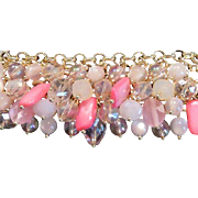 M Haskell Pink Glass Charm Bracelet