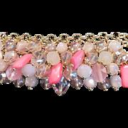 M Haskell Pink Glass Charm Bracelet