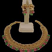 Book Chain Bib Demi Parure - Vintage Revival Set - Glass Fruit Salad Necklace and Earrings Set