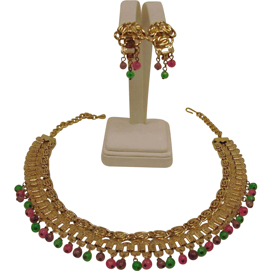 Book Chain Bib Demi Parure - Vintage Revival Set - Glass Fruit Salad Necklace and Earrings Set