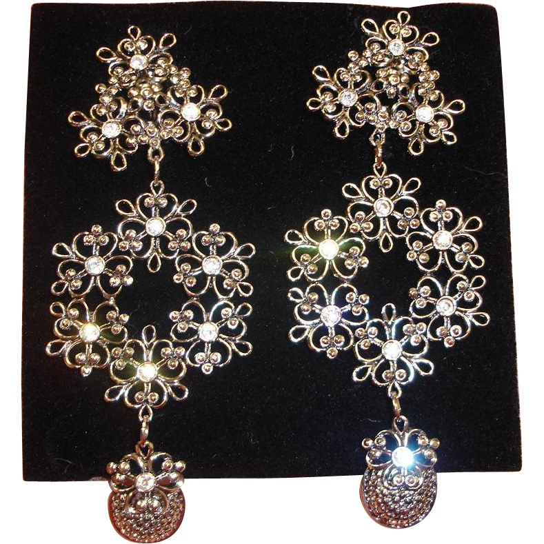 Jose Maria Barrera EARRINGS - Imperial Elegance Clip On Earrings - Vintage Barrera for Avon Chandelier Earrings