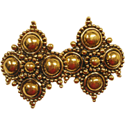 Barrera by Avon Earrings  - Adriatic Collection - Vintage Gold Tone Barrera Runway Earrings