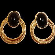 Black and Gold Plated Pierced Door Knocker Earrings - Vintage Pierced Post Stud Earrings