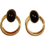 Black and Gold Plated Pierced Door Knocker Earrings - Vintage Pierced Post Stud Earrings