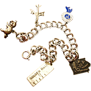Sterling Silver Charm Bracelet with 5 Charms  -  Vintage County Fair Theme Charm Bracelet