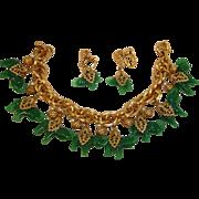 Exceptional NAPIER Green Elephant Charm Bracelet and Earrings Set – Vintage Napier Demi Parure Jewelry