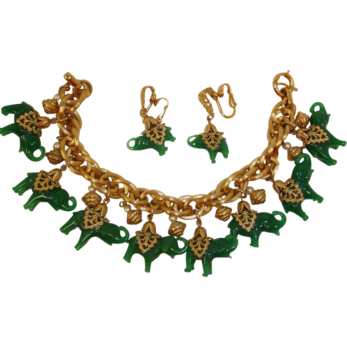 Exceptional NAPIER Green Elephant Charm Bracelet and Earrings Set – Vintage Napier Demi Parure Jewelry