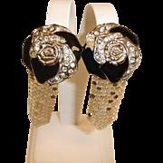 Vintage WHITING and DAVIS Dangle Drop Earrings - Vintage Enamel Rhinestone and Mesh Earrings