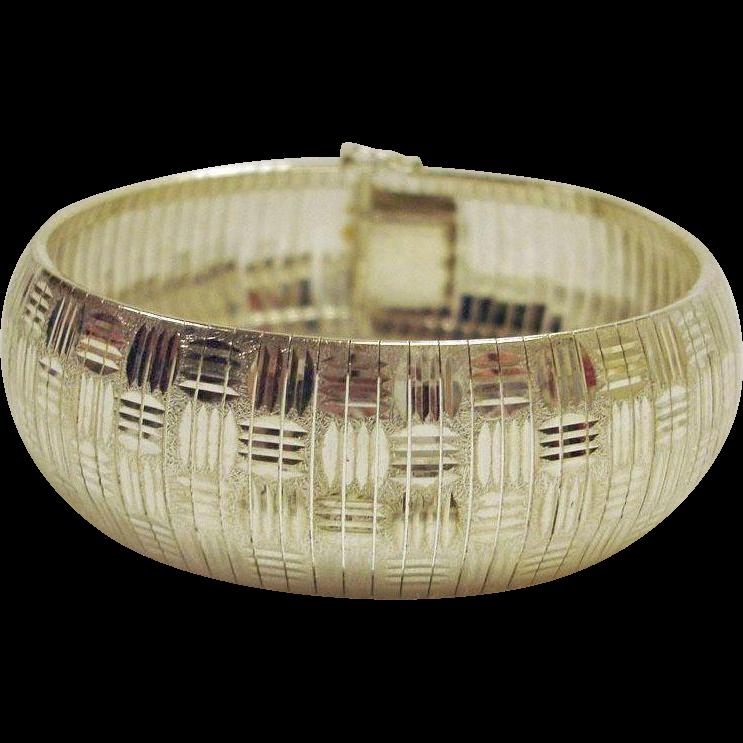 Wide Flexible STERLING SILVER Basket Weave Bracelet - Made in Italy - Size 7-1/2