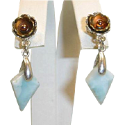 Sterling Silver and Copper Color Dangle Drop Larimar Pierced Earrings - Larimar Estate Jewelry